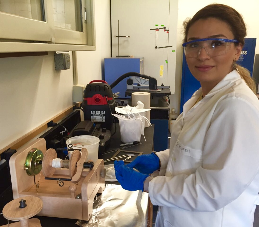 Shokoofeh, conducting research on development of new biomaterials from nanocellulose, received her degree in Iran.